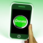 Donate Button On Mobile Showing Charity And Fundraising