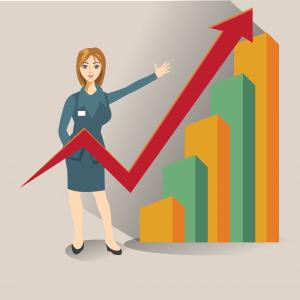 cartoon woman standing next to graph