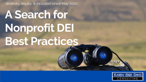 words: A Search for Nonprofit DEI Best Practices, DEI since May 2020, plus a picture of binoculars