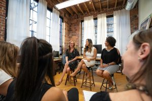 three women on a panel