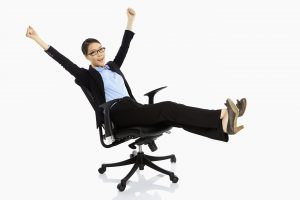 woman resting on a chair, cheering