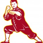 Illustration of shaolin kung fu martial arts karate master in fighting stance on isolated background done in retro style.